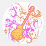 KRW Girl's Rock Guitar Grunge Round Stickers