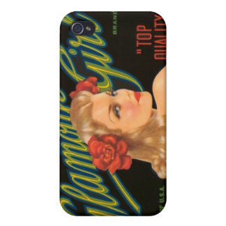 KRW Glamour Girl Vintage Crate Label  Covers For iPhone 4