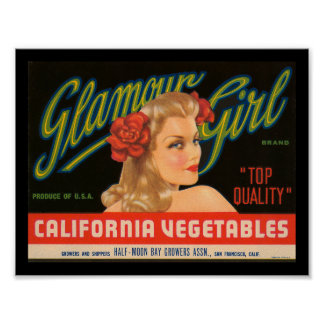 KRW Glamour Girl Vintage Crate Label Print