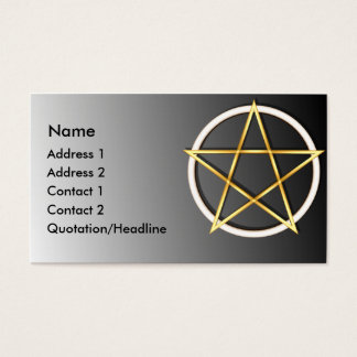 KRW Gold Wiccan Pentagram Custom Business Card