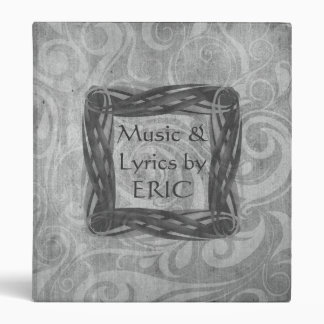 KRW Gothic Swirls Music Lyrics Gray Binder/Album * 3 Ring Binder