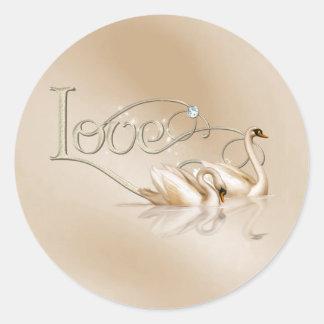 KRW Graceful Swans Love Wedding Seals Classic Round Sticker