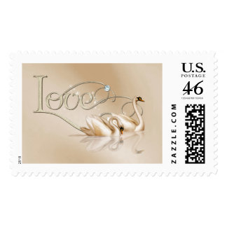 KRW Graceful Swans Love Wedding Stamps