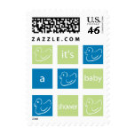 KRW Green and Blue Baby Shower Postage Stamps