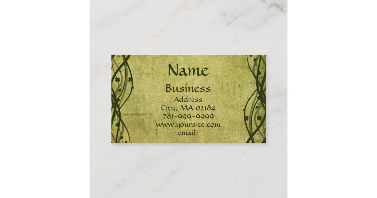 KRW Green Celtic Shamrock Parchment Custom Business Card | Zazzle.com