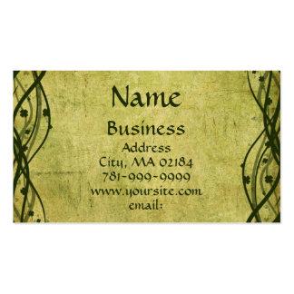 KRW Green Celtic Shamrock Parchment Custom Business Card