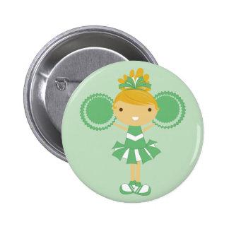 KRW Green Cheerleader Birthday Party Button