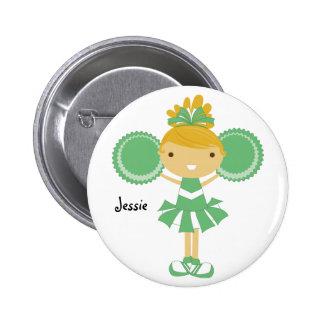 KRW Green  Cheerleader Birthday Party Name Button