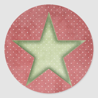 KRW Green Christmas Star 3 Inch Sticker Seal