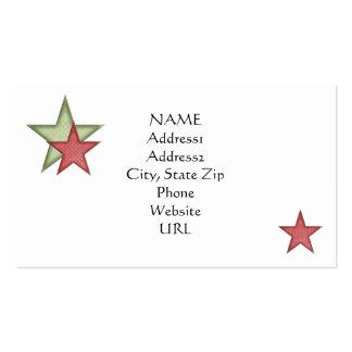KRW Green Christmas Stars Custom Business Card