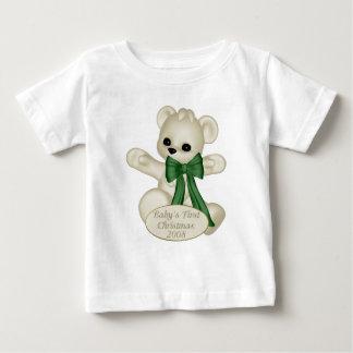 KRW Green Ribbon Bear Baby's First Christmas Baby T-Shirt