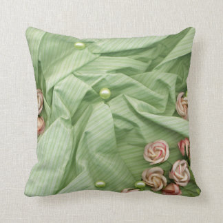 KRW Green with Pink Rose and Pearls Wedding Pillow
