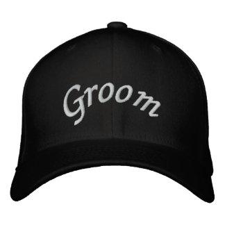 KRW Groom Script Black and White Embroidered Baseball Caps