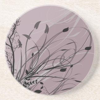KRW Grunge Floral in Misty Lavender Coaster