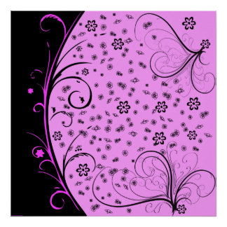 KRW Grunge Floral in Pink Poster