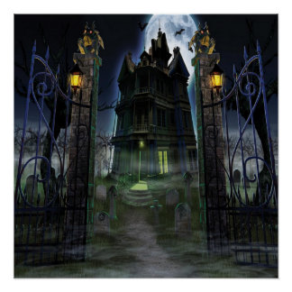 KRW Halloween Decor Poster Creepy Castle