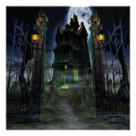 KRW Halloween Decor Poster Creepy Castle