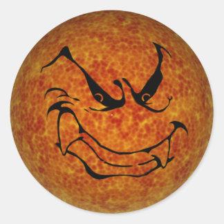 KRW Halloween Evil Moon Shadow Round Stickers