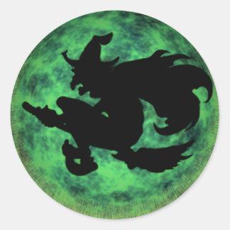 KRW Halloween Moon Witch Shadow Classic Round Sticker