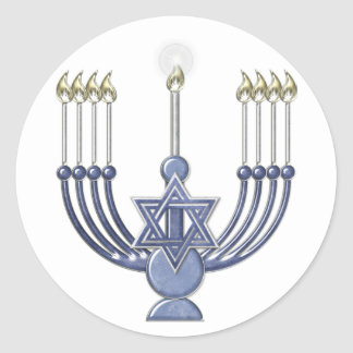 KRW Hanukkah Menorah Seal Classic Round Sticker