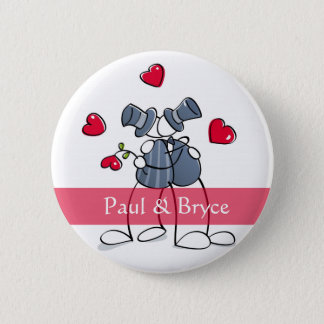 KRW Happy Grooms Gay Marriage Favor Button