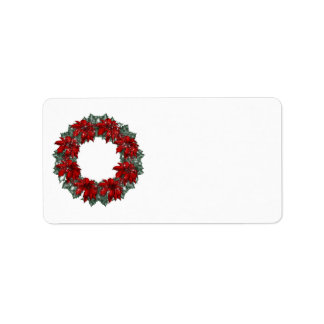 KRW Happy Holidays Wreath Blank Address Label