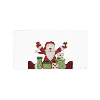 KRW Happy Santa Holiday Medium Blank Label Address Label