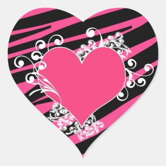 KRW Heart and Swirls Zebra Pink and Black Sticker