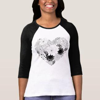 KRW Heart of Flowers Black and White Raglan Tee