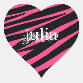 KRW Heart Zebra Pink and Black Name Sticker