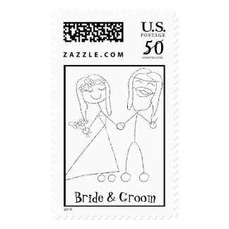 KRW Hippie Bride & Groom Custom Wedding Stamp