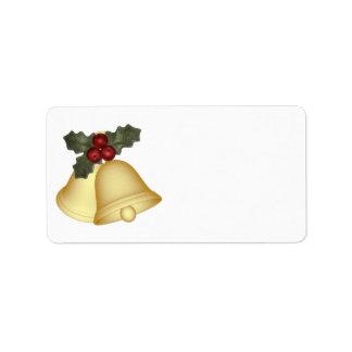 KRW Holly Bells Christmas Blank Address Label