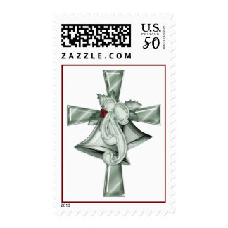 KRW Holly Bells on the Cross Christmas Stamp