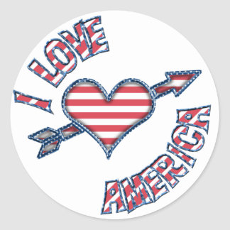 KRW I Love America Heart Stars and Stripes Round Stickers