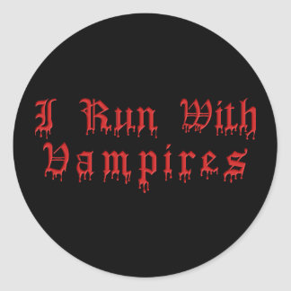 KRW I Run With Vampires Dripping Blood Classic Round Sticker