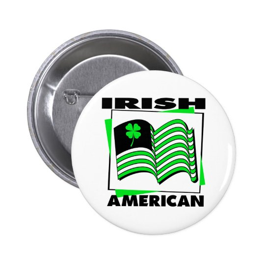 KRW Irish American Green Flag Pinback Button