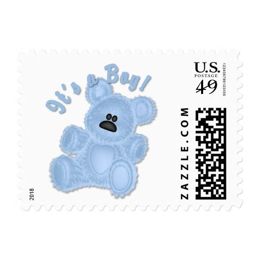 KRW It's a Boy Teddy Bear Baby Small Postage Stamps
