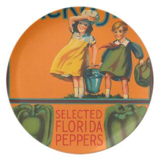 KRW Jack y placa de la etiqueta del Veggie del vin Platos