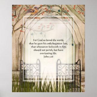 KRW John 3:16 Bible Verse Poster