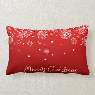 KRW Lacy White Snowflake on Christmas Red Pillow