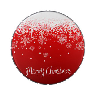 KRW Lacy White Snowflakes Christmas Red Candy Tin