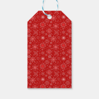 KRW Lacy White Snowflakes Christmas Red Gift Tag Pack Of Gift Tags