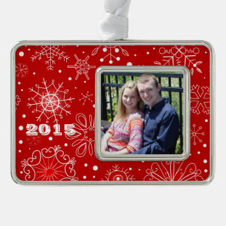 KRW Lacy White Snowflakes Christmas Red Ornament Silver Plated Framed Ornament