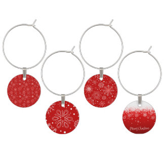 KRW Lacy White Snowflakes Christmas Red Wine Tags Wine Charm