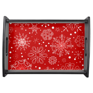 KRW Lacy White Snowflakes on Christmas Red Tray Service Tray