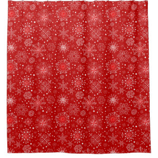 KRW Lacy White Snowflakes on Red Shower Curtain