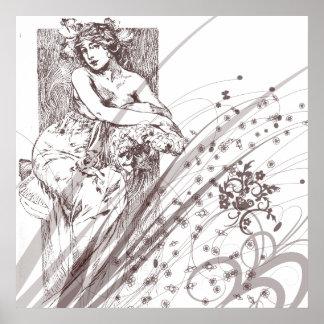 KRW Lady Amid Flowers Vintage Print