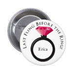 KRW Last Fling Before the Ring Pink Black Name Pinback Buttons