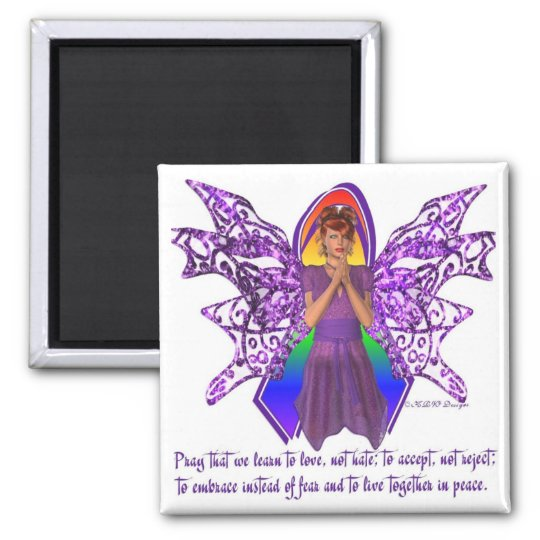 KRW LGBT Acceptance Red Head Fairy 2 Inch Square Magnet