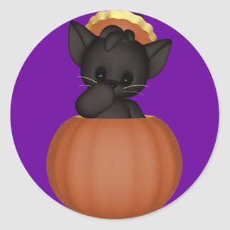 KRW Lil Black Scardy Cat Halloween Round Sticker